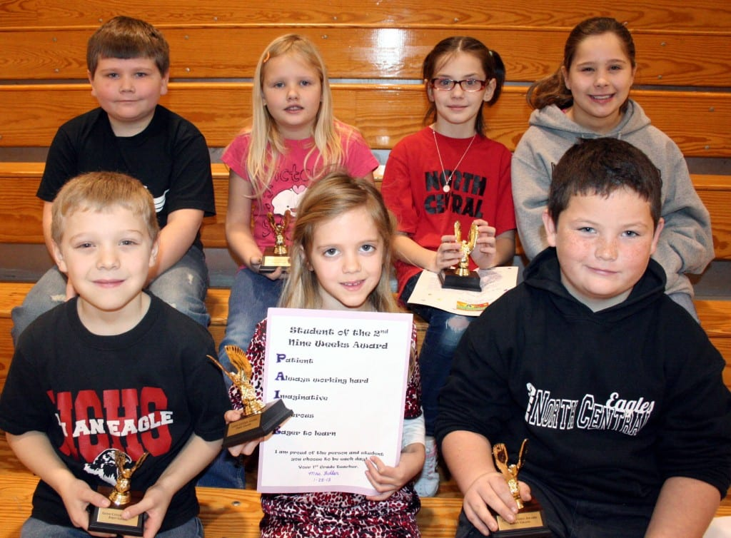 North Central Elementary School recognized Good Citizens in grades 1-3 for the second nine weeks.  Award winners are first row Joseph Burt, Paige Oxender, Edward Middleton; second row Coltan Willson, Abigail Farbrother,  Heather Farren, and Riley Brown.  Missing from the photo is Richelle Johnson