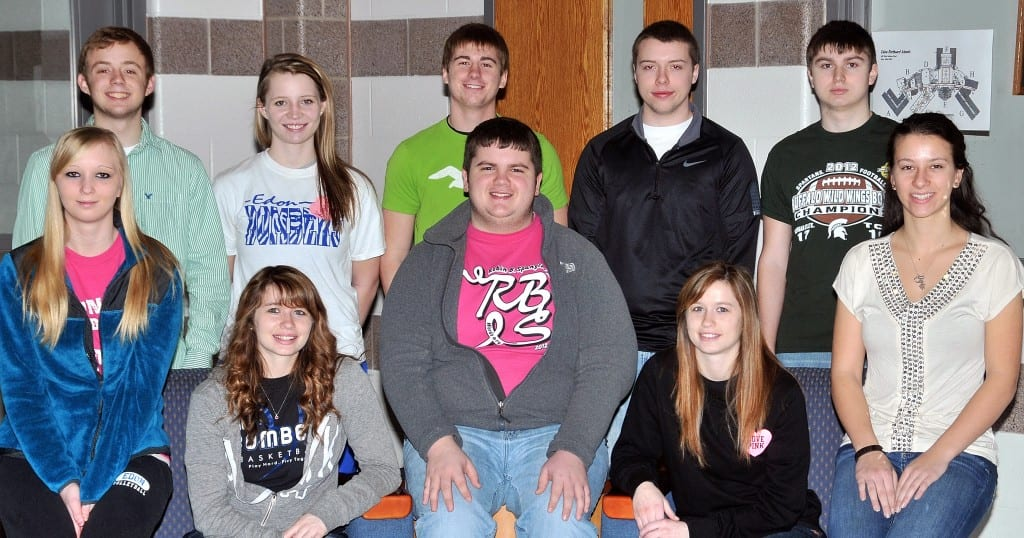 TEAM BETA … Comprising Edon High School's 2013 Mock Trial Team Beta are seniors, seated from left, Sabrina White, Kennedy Brigle, David Headley, Kaylyn Brigle, Abby Hill, and standing, from left, Clay Parrish, Mihkaya Best, Reid Bowling, Justin Kirkpatrick and Kyle Gearhart.