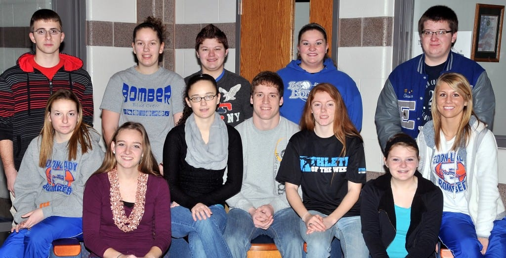 TEAM ALPHA … Comprising Edon High School's 2013 Mock Trial Team Alpha are seniors, seated from left, Andrea Headley, Becky Fisk, Ciera Mocherman, Dakota Parrish, Sabrina Brown, Meredith LaDuke, Sydney Stoll, and standing, from left, Lucas Wertman, Chelsey Handy, Kalyn Lyman, Desiree Howard and Chandler Siebenaler.