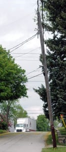 IN REPAIR ... This pole, located on S. Liberty Street and which has begun to lean over the street is scheduled to be replaced soon.