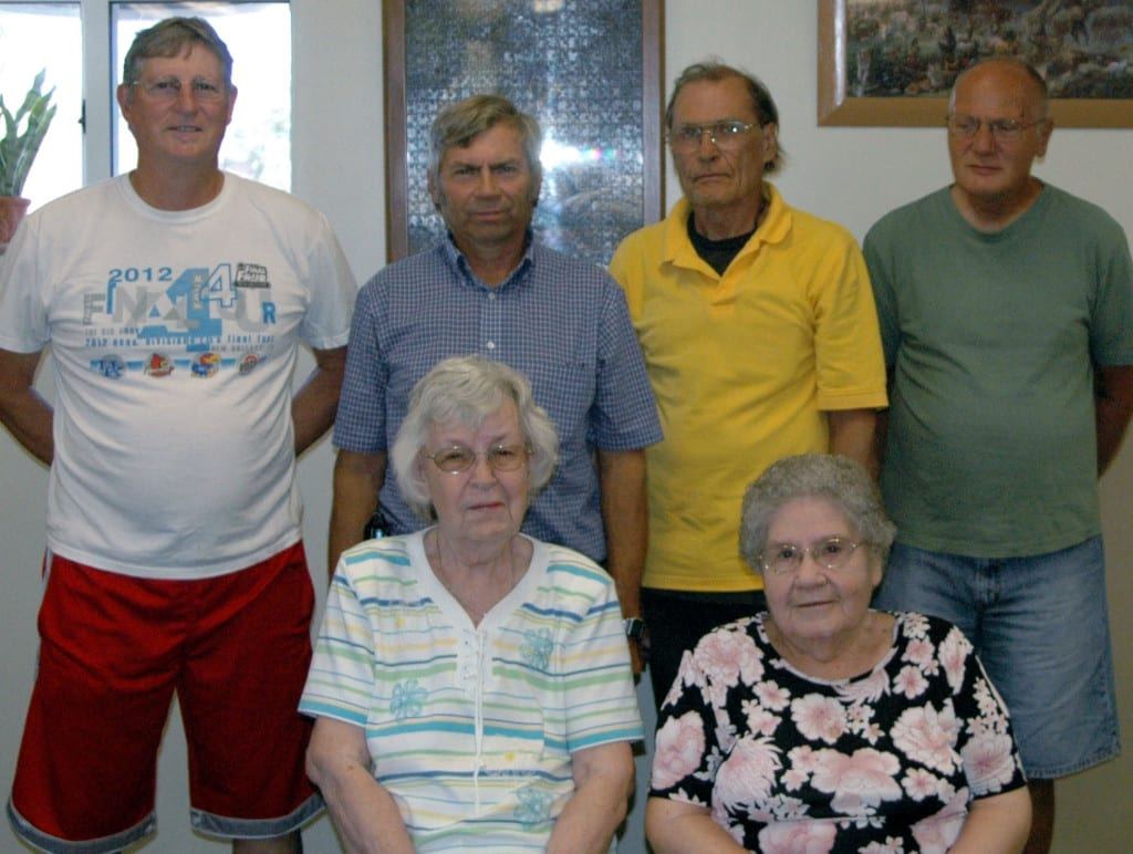 Celebrating their June birthdays at the Stryker Senior Center are (front, from left) Peg Belella, Mary Duff, (back, from left) Don Carroll, Leslie Doriot, Chuck McColl, and John Briskey.