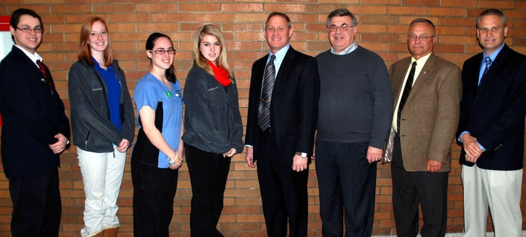 In honor of Career & Technical Education Month, Four County Career Center hosted a luncheon for local elected officials from the four county area. Shown following the luncheon with Williams County Commissioners are (LEFT TO RIGHT) Cody Corwin, Computer Networking & Repair (Bryan); Allison Buttermore, Sports Fitness & Exercise Science (Fairview); Kylee Nickels, Medical Office Technology (Hilltop); Andrea Lewis, Accounting & Business Management (Fairview); Williams County Commissioner Brian Davis; Williams County Commissioner Lewis Hilkert; Williams County Commissioner Alan Word; and Superintendent Tim Meister.